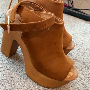Brown suede platform heels